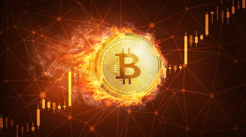 Bitcoin coin in fire with bull stock chart. royalty free illustration