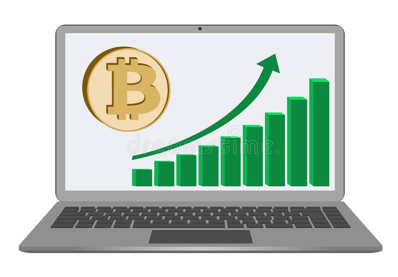 Bitcoin coin with growth chart on laptop screen royalty free illustration