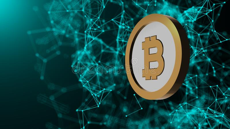 Bitcoin coin and many network connections, computer generated abstract technology background, 3d render royalty free illustration