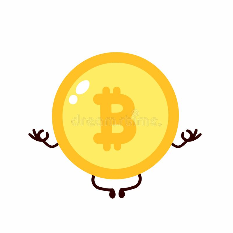 Bitcoin coin meditate in lotus yoga vector illustration