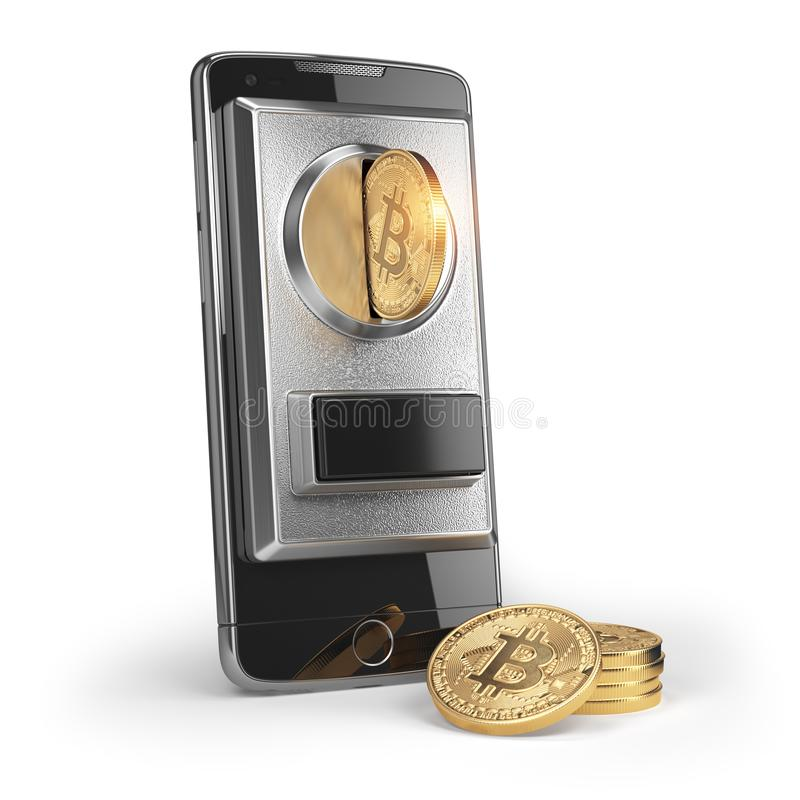 BItcoin coin and mobile phone isolated on white. Pay by bitcoin royalty free illustration