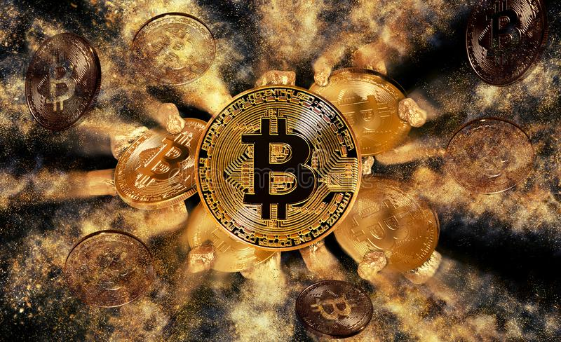 Bitcoin coin and mound of gold nuggets vector illustration
