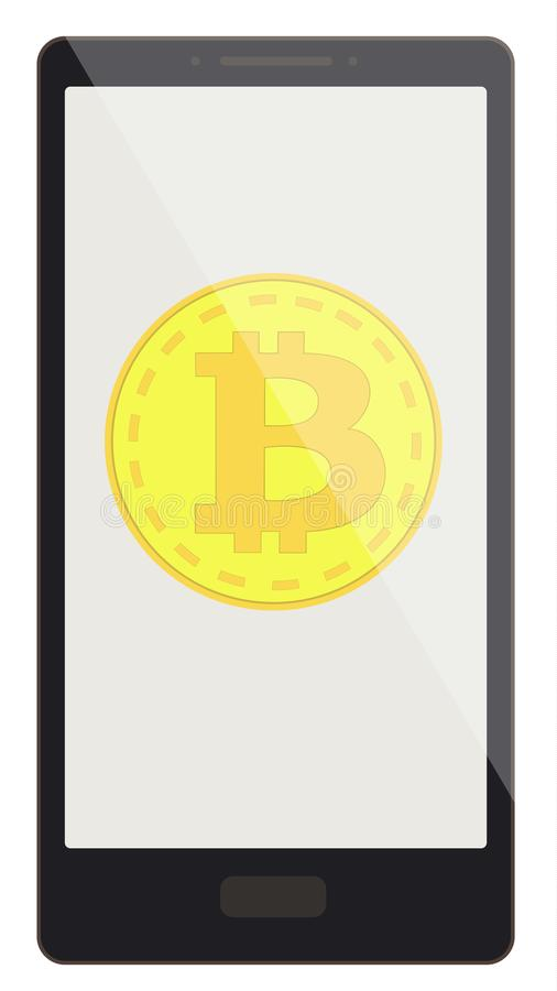 Bitcoin coin on a phone screen royalty free illustration