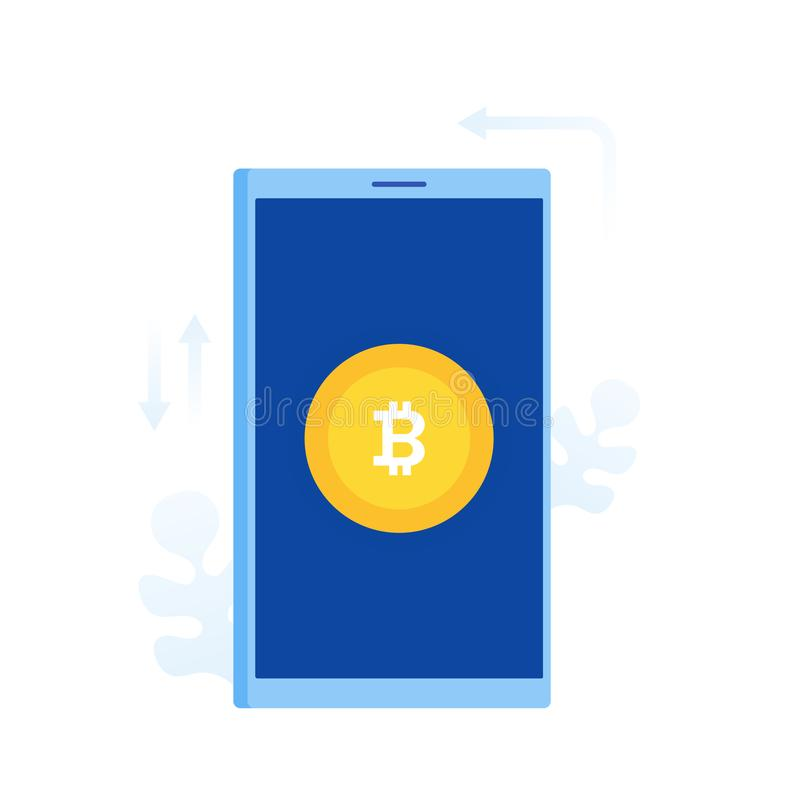 Bitcoin coin on phone screen, flat cartoon design concept of cryptocurrency mining, stock illustration