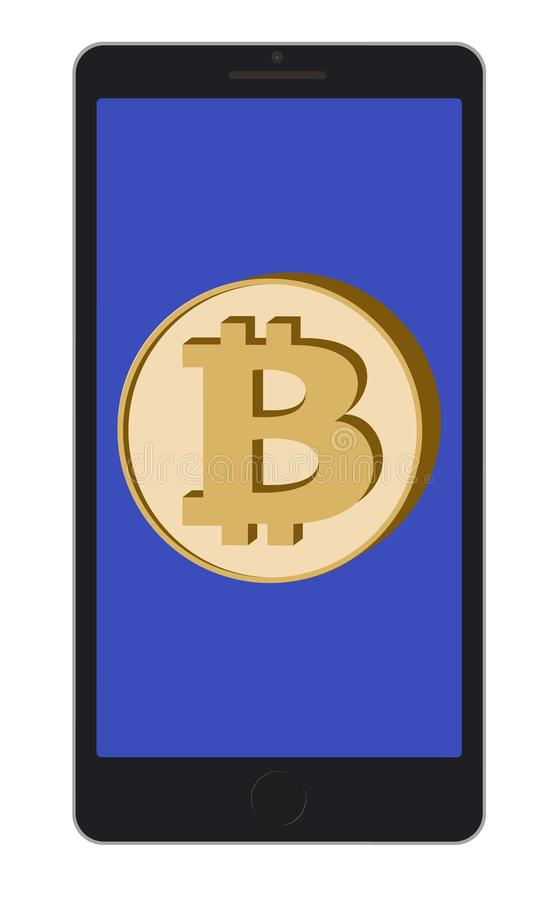 Bitcoin coin on a phone screen on white background stock illustration