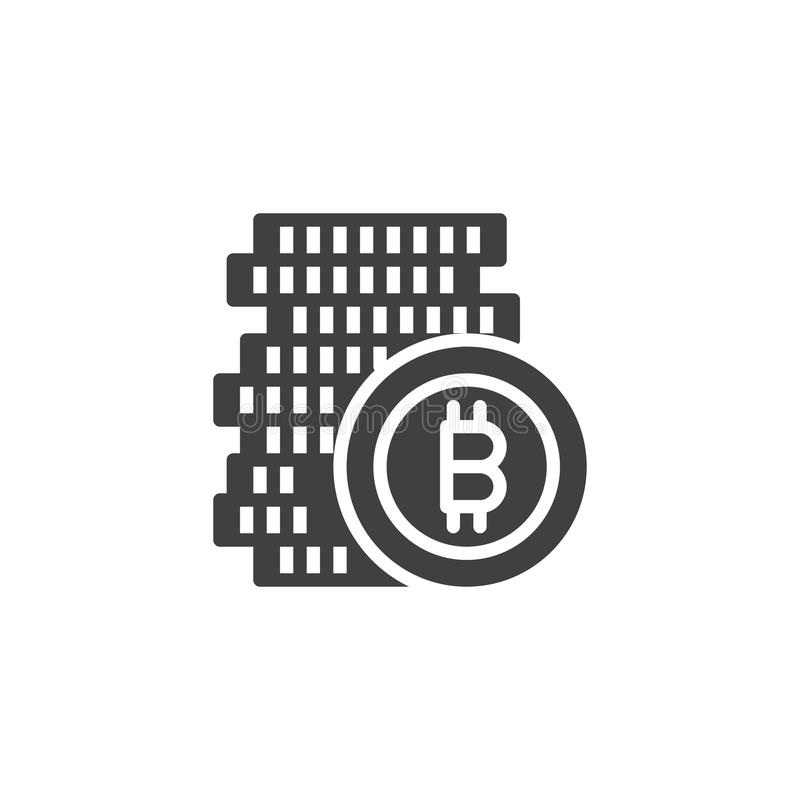 Bitcoin coin stacks vector icon. Filled flat sign for mobile concept and web design. Cryptocurrency money simple solid icon. Symbol, logo illustration. Pixel stock illustration