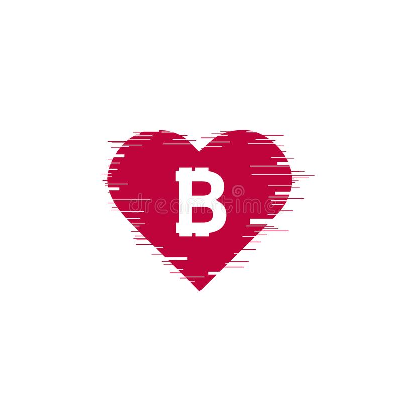 Free Bitcoin Coin With Fast Speed Motion Lines And Glitch Heart Stock Photo - 116957250