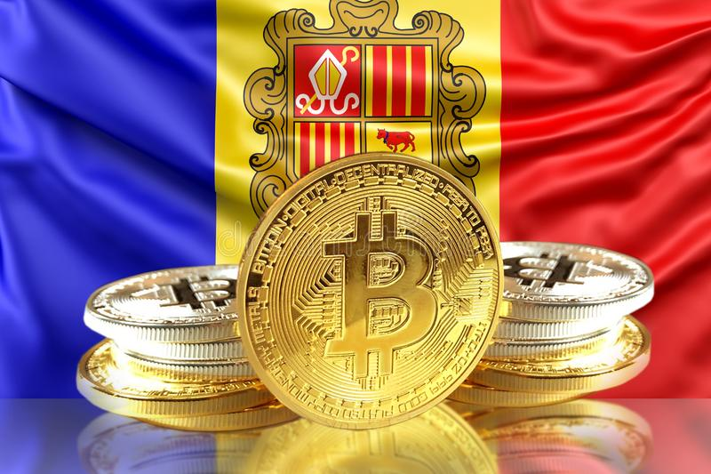 Bitcoin coins on Andorra& x27;s Flag, Cryptocurrency, Digital money concept. Photo stock illustration