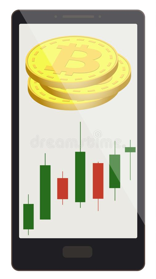 Bitcoin coins with candlestick chart on a phone screen vector illustration