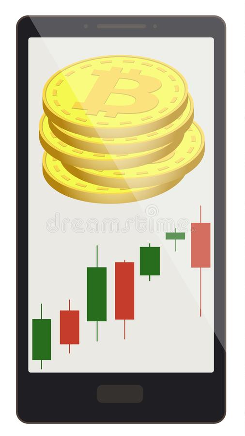 Bitcoin coins with candlestick chart on a phone screen stock illustration