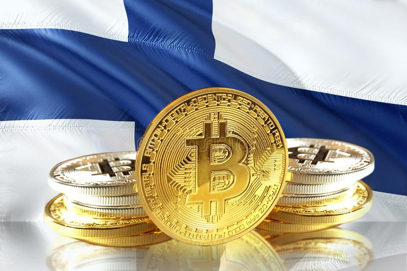 Bitcoin coins on Finland& x27;s Flag, Cryptocurrency, Digital money concept. Photo stock illustration