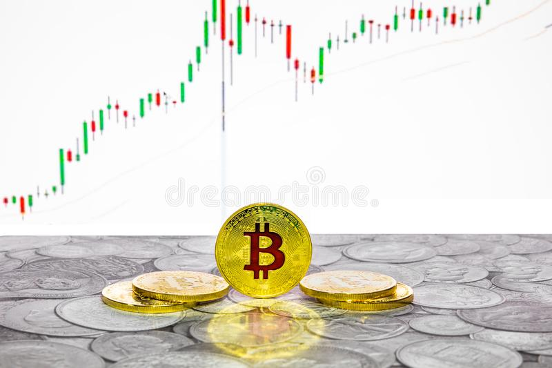 Bitcoin coins with global trading exchange market price chart in the background. Bitcoin and cryptocurrency investing concept - Physical metal Bitcoin coins with vector illustration