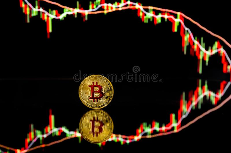 Bitcoin coins with global trading exchange market price chart in the background. Bitcoin and cryptocurrency investing concept - Physical metal Bitcoin coins with stock illustration
