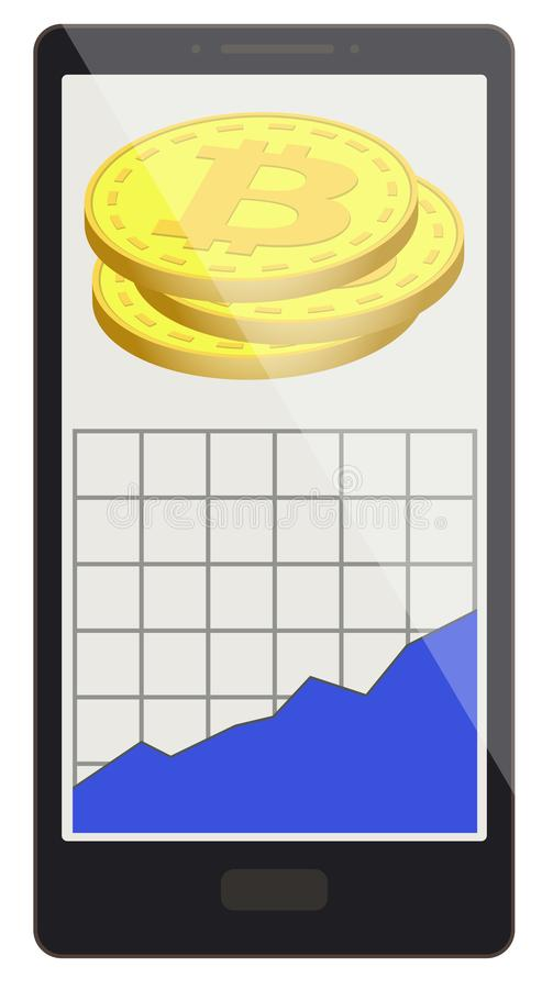 Bitcoin coins with growth graph on a phone screen vector illustration