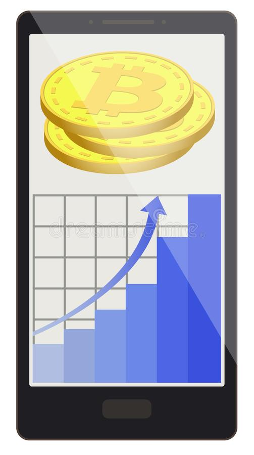 Bitcoin coins with growth graph on a phone screen royalty free illustration