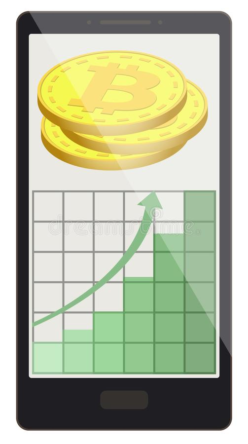 Bitcoin coins with growth graph on a phone screen stock illustration