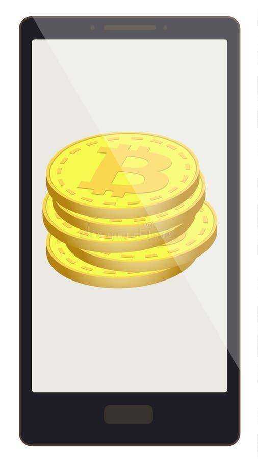 Bitcoin coins on a phone screen vector illustration