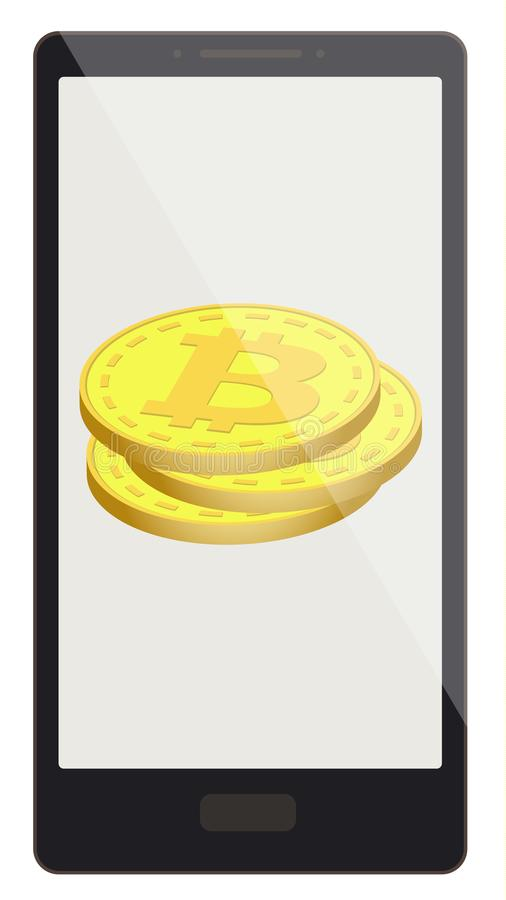 Bitcoin coins on a phone screen stock illustration
