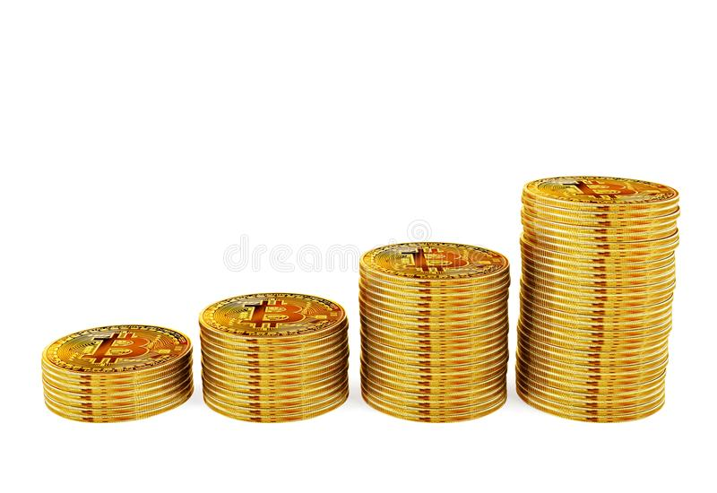 Bitcoin coins stack step up, money growing and financial investment concept. 3D rendering royalty free stock photography