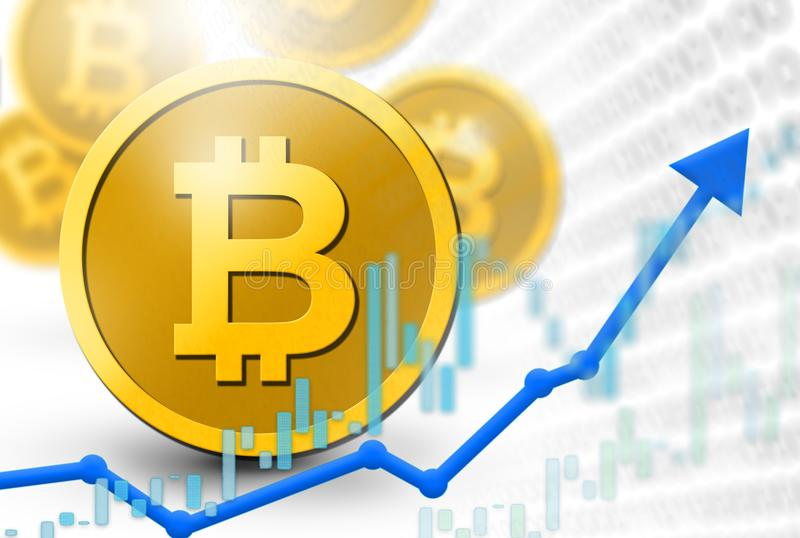Bitcoin coins virtual currency illustration with 3D coins and upswing profit increase concept. Digital money system threatening f royalty free illustration