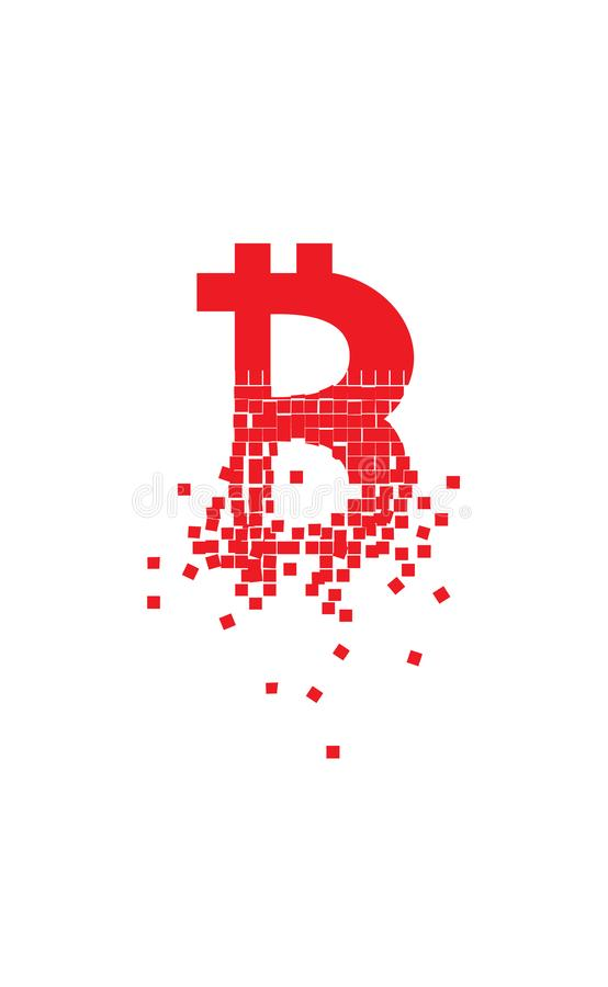 Bitcoin Collapse And Crack Down Concept Illustration With Blank