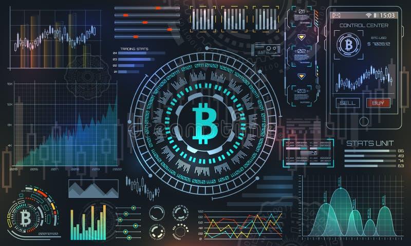 Bitcoin com HUD Elements, BTC, moeda do bocado, dinheiro virtual, moeda cripto ilustração do vetor