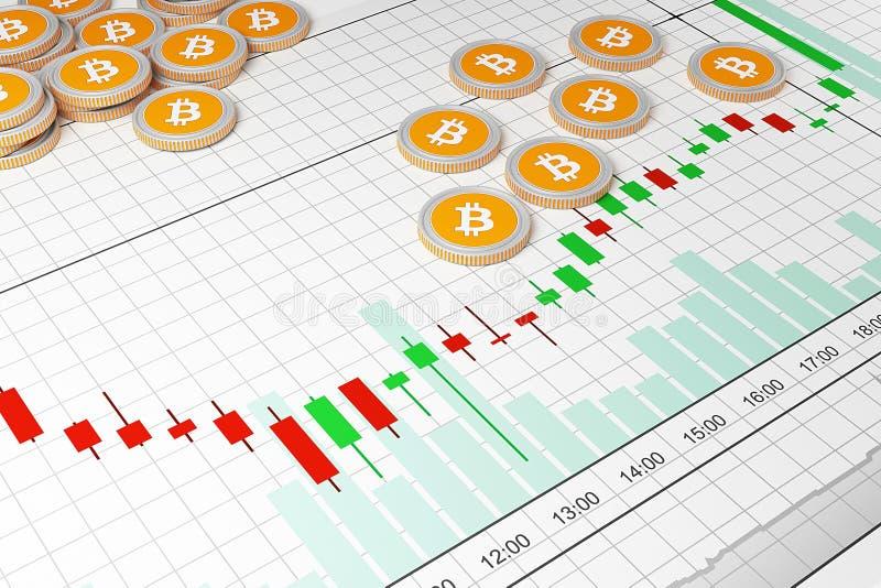 Bitcoin Comercios del intercambio de Cryptocurrency Horario comercial ilustración del vector