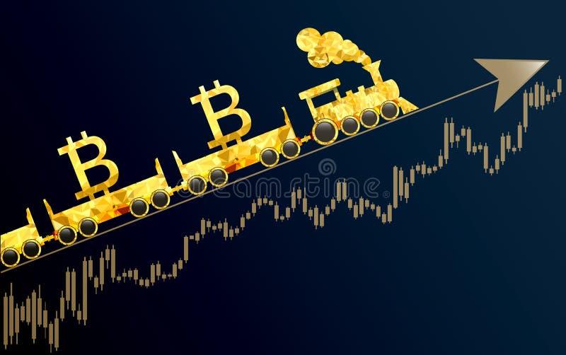 Bitcoin como tren que apresura libre illustration