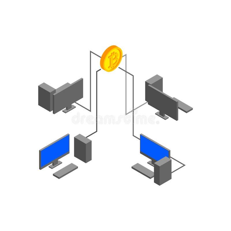 Bitcoin computacional da extração das tecnologias Moeda cripto C ilustração stock
