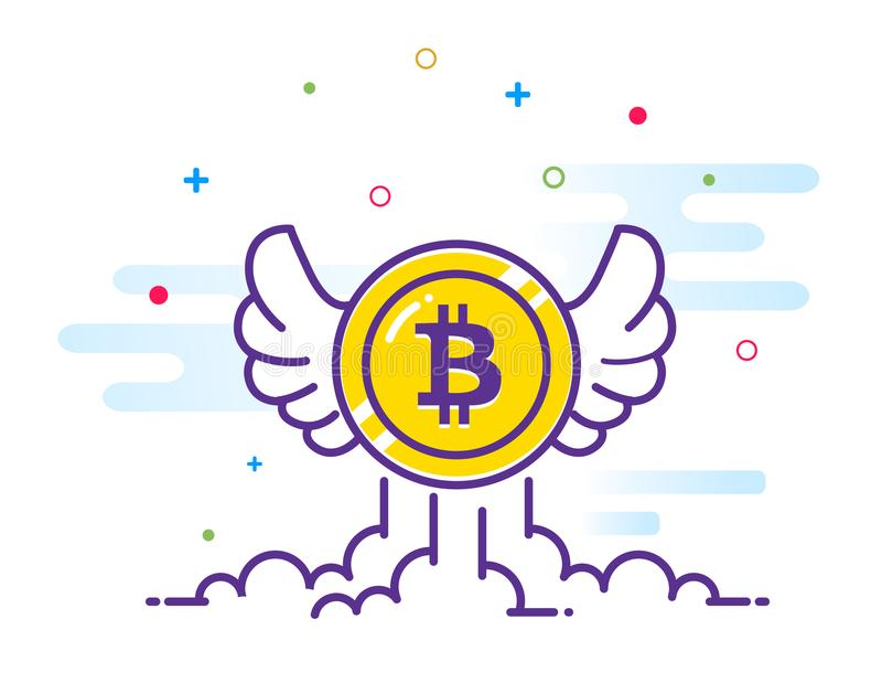 Bitcoin con el ejemplo del plano de alas Vuelo del icono de Bitcoin en el cielo Moneda Crypto del pedazo de la moneda Emblema de  ilustración del vector