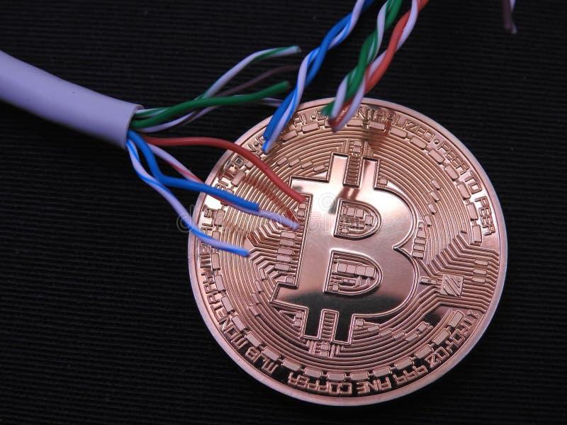 Bitcoin con en los cables superiores del utp imagen de archivo