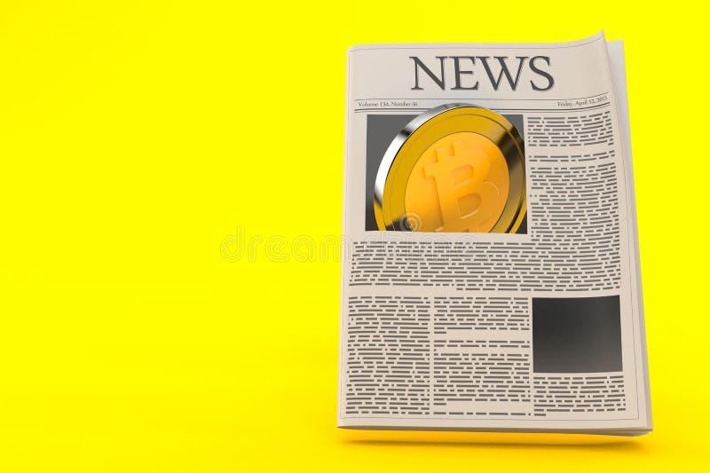 Bitcoin con il giornale illustrazione di stock