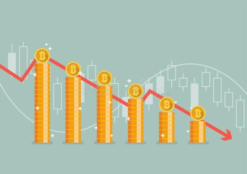 Bitcoin con il grafico giù illustrazione vettoriale
