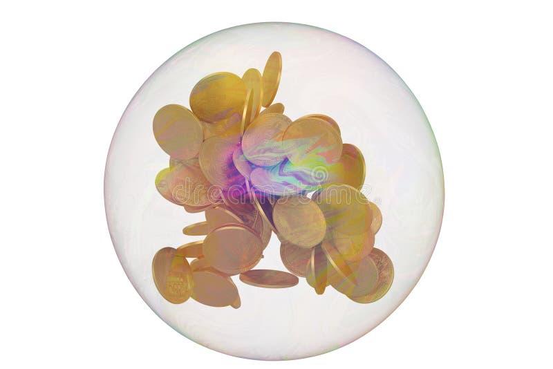 Bitcoin con la bolla isolata su fondo bianco illustrazione 3D illustrazione vettoriale