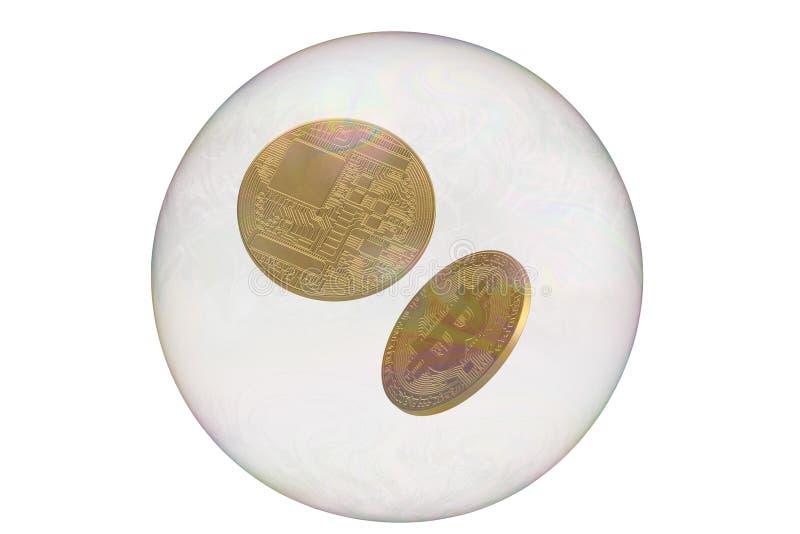 Bitcoin con la burbuja aislada en el fondo blanco ilustraci?n 3D ilustración del vector