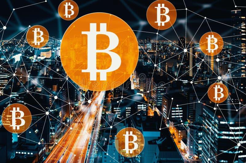 Bitcoin con una carretera masiva ilustración del vector