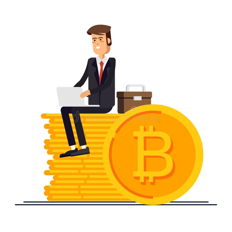 Bitcoin concept vector illustration of businessman and businesswoman using laptop and smartphone for online funding and stock illustration