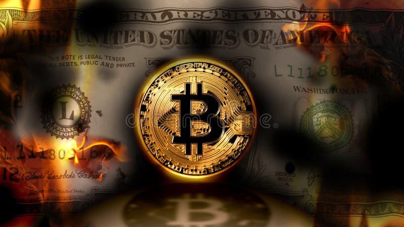 Bitcoin contra o dólar, dólar da cédula do Estados Unidos que queima-se no fotos de stock royalty free