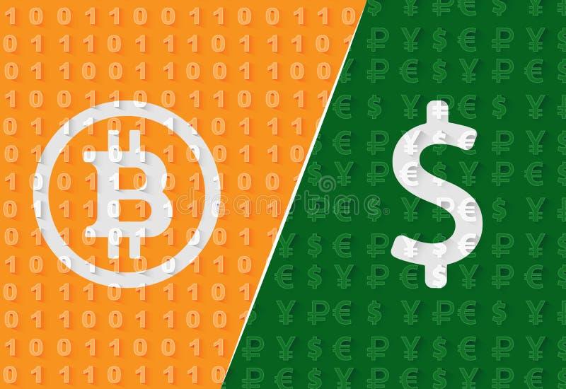 Bitcoin CONTRE le papier peint du dollar illustration de vecteur
