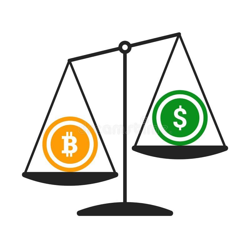Bitcoin contro il concetto di vettore del dollaro con le scale dell'equilibrio Illustrazione piana di vettore di progettazione royalty illustrazione gratis