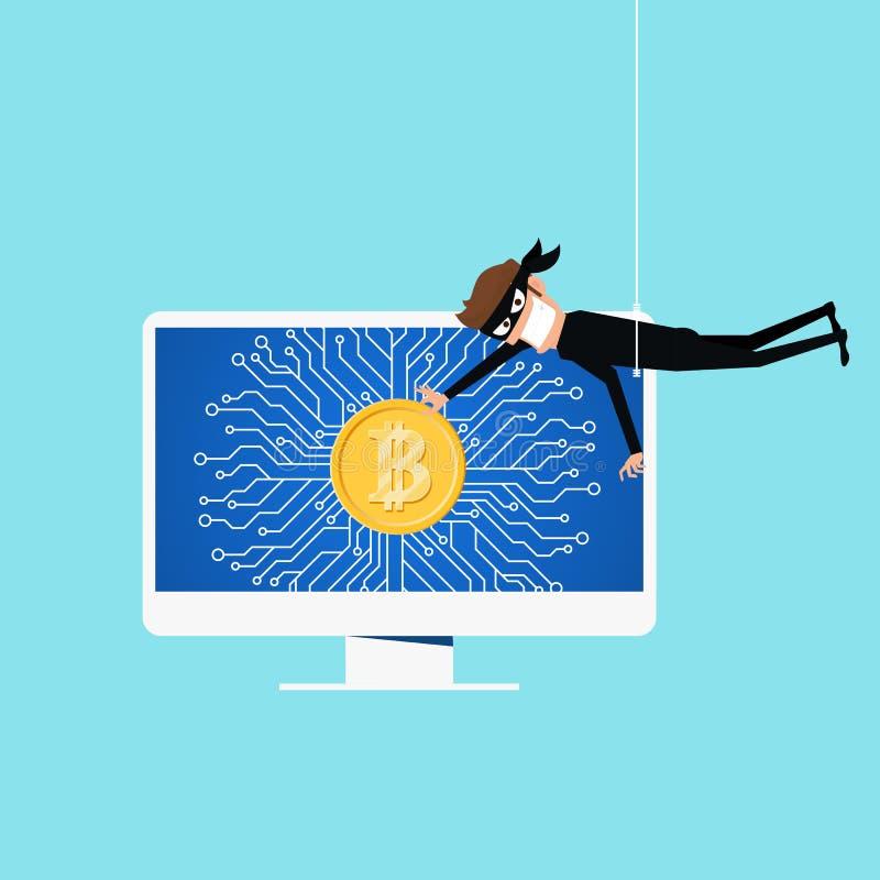Bitcoin cortó concepto de moneda Crypto Sirva cortar el sistema en línea para conseguir el bitcoin útil para los virus antis del  stock de ilustración