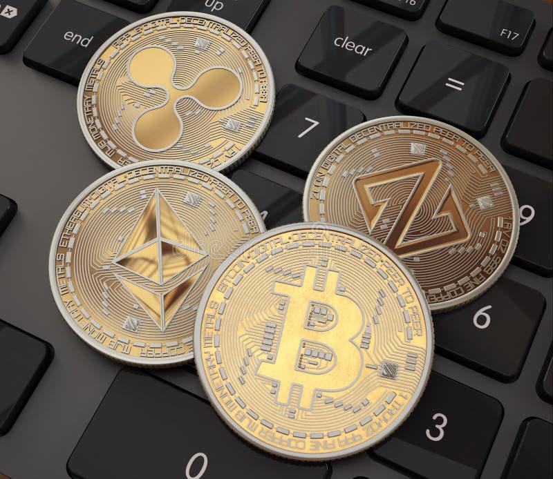 Bitcoin Cripto位硬币 数字式货币 Cryptocurrency 与bitcoins的金黄物理硬币在黑色 免版税库存照片