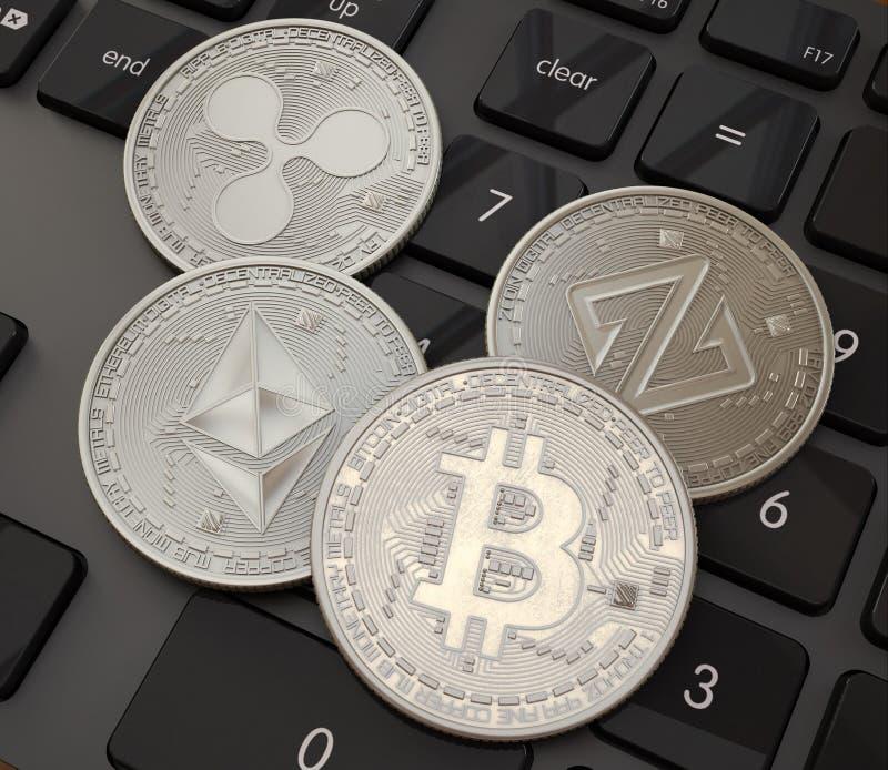 Bitcoin Cripto beet muntstuk Digitale munt Cryptocurrency Platina fysieke muntstukken met bitcoins op zwarte vector illustratie