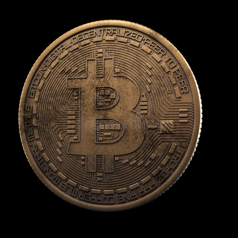 Bitcoin. Cripto bit coin. Digital currency. Cryptocurrency. Golden physical coin with bitcoin symbol isolated on black. Background royalty free stock images