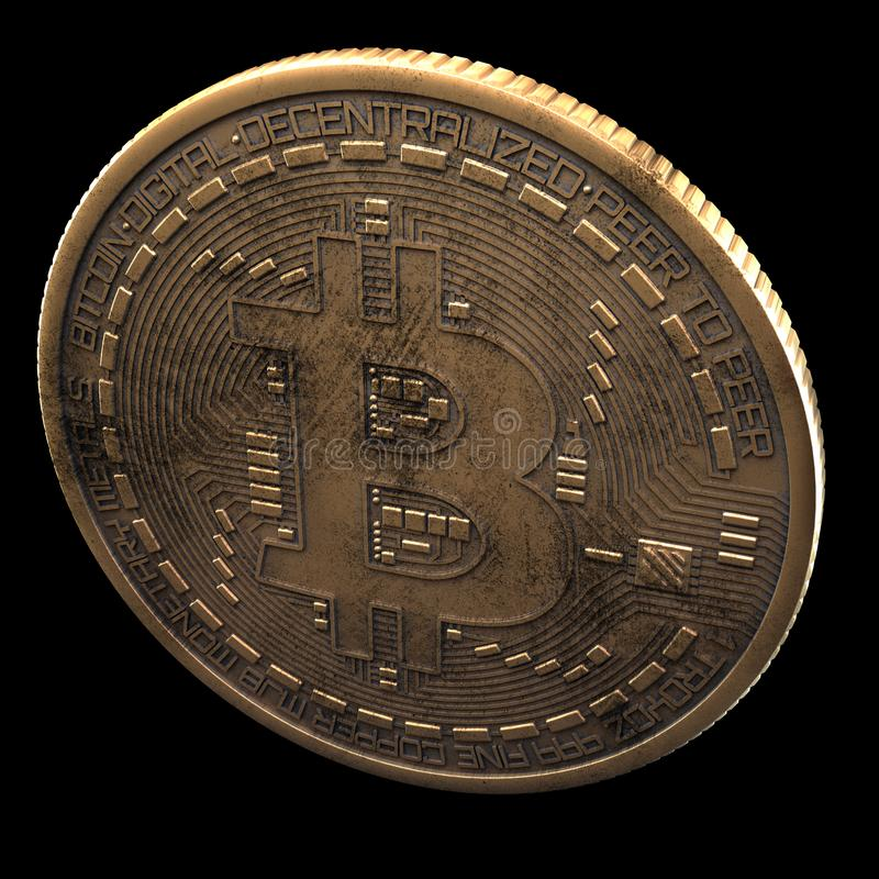 Bitcoin. Cripto bit coin. Digital currency. Cryptocurrency. Golden physical coin with bitcoin symbol isolated on black background. Bitcoin. Cripto bit coin stock photo