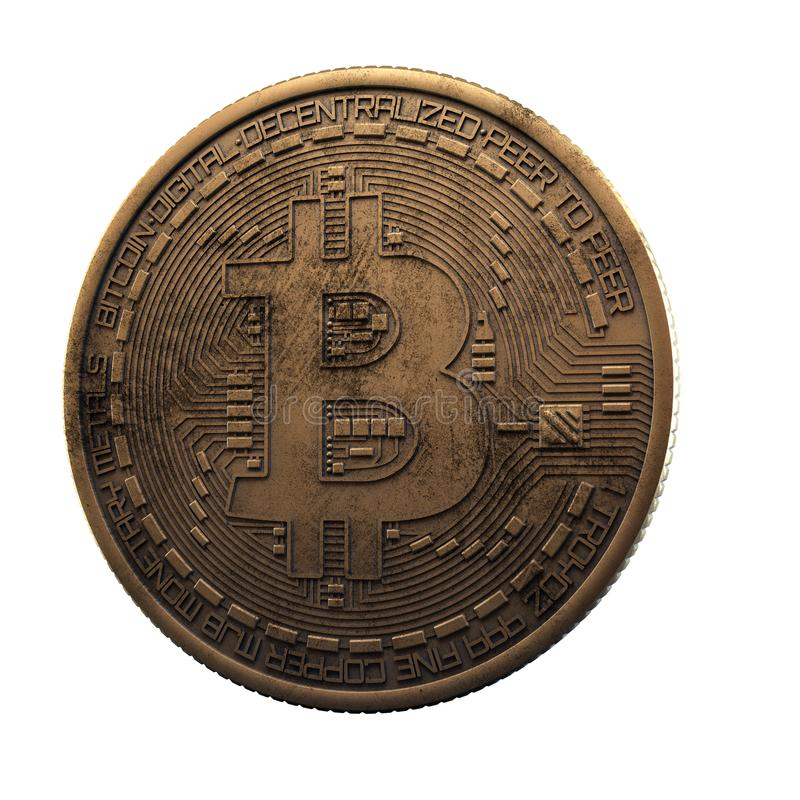 Bitcoin. Cripto bit coin. Digital currency. Cryptocurrency. Golden physical coin with bitcoin symbol isolated on white. Background royalty free stock photo
