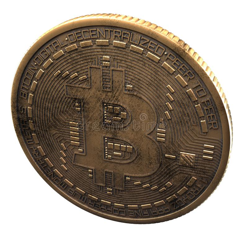 Bitcoin. Cripto bit coin. Digital currency. Cryptocurrency. Golden physical coin with bitcoin symbol isolated on white background. Bitcoin. Cripto bit coin royalty free stock photo