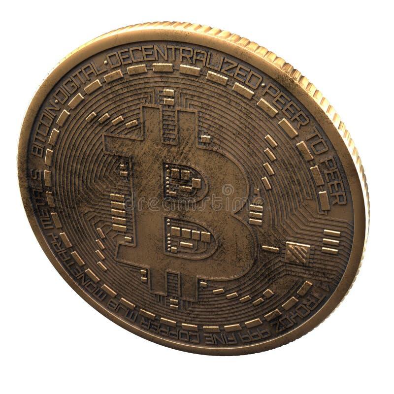 Bitcoin Cripto bitmynt Digital valuta Cryptocurrency Guld- fysiskt mynt med bitcoinsymbol som isoleras på vit bakgrund royaltyfri foto