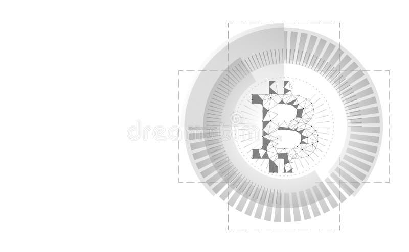 Bitcoin cripto di valuta nell'interfaccia del radar di HUD illustrazione vettoriale