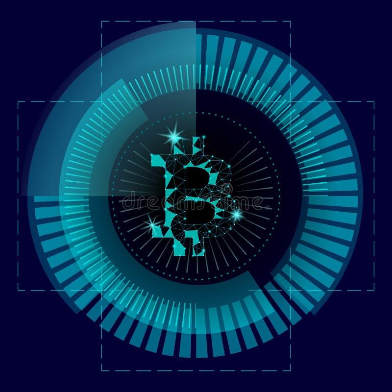 Bitcoin cripto di valuta nell'interfaccia del radar di HUD royalty illustrazione gratis
